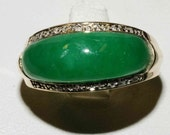 Antique 14k Solid Gold Rare genuine Green Jadie Jade with Diamond Ring band large-----Perfect Unique love gift