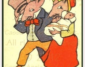 1910 Mr Mrs Mouse Couple w Baby in top hat bonnet Postcard mice rat : DIGITAL ART  jpg download by email - Unlimited personal uses CADA