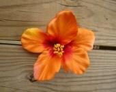 Orange HIBISCUS Flower hair clip