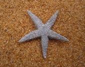 SILVER metallic GLITTER starfish hair pin