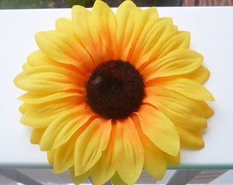 LARGE bright yellow sunflower hair clip