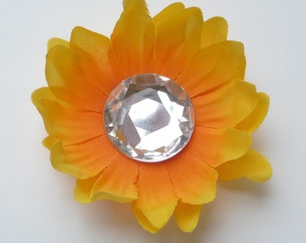 bright yellow small sunflower hair clip PERFECT FOR FALL