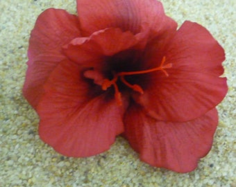 RED HIBISCUS FLOWER hair clip or bobby pin