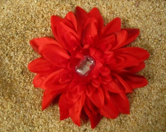 RED  zinnia flower HAIR clip or pin