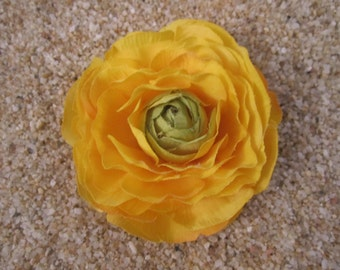 Yellow ranunculus rhinestone flower HAIR clip or pin BROOCH