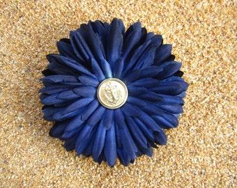 Anchor flower hair clip -- Navy Blue