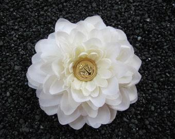 Cream mum flower with Gold Anchor Hair clip