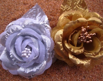 set of SILVER and GOLD metallic ROSE flower hair clips