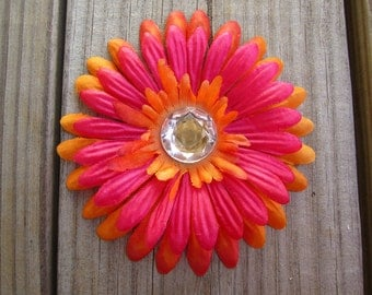 PINK and ORANGE gerber daisy with rhinestone hair clip