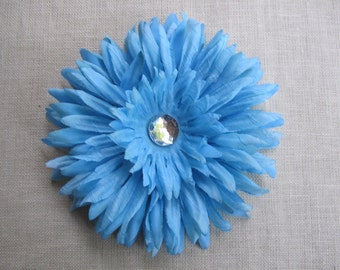 Sky Blue daisy flower hair clip OR bobby pin