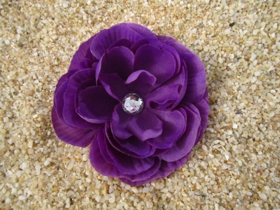 purple rose flower hair clip OR pin SPRING