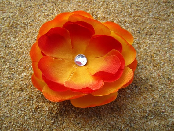 Yellow and Orange rose flower with RHINESTONE hair clip OR pin