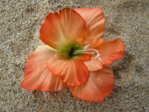 Orange tropical HIBISCUS flower hair clip OR pin