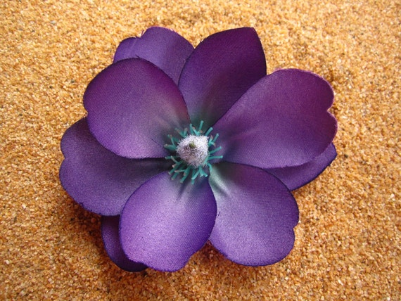 purple magnolia flower hair clip or pin smaller one. Black Bedroom Furniture Sets. Home Design Ideas