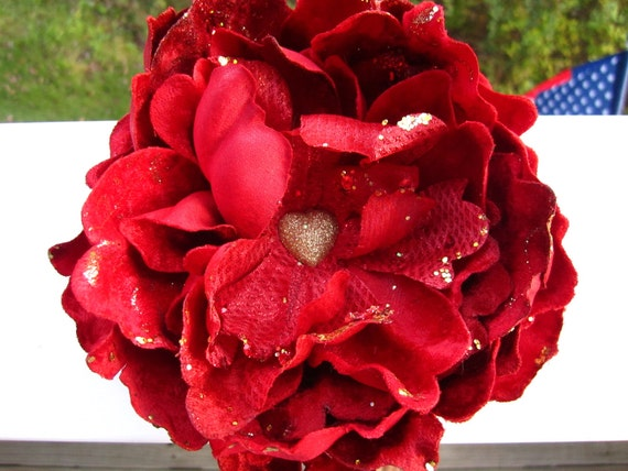RED and GOLD  peony flower hair clip - Very Full