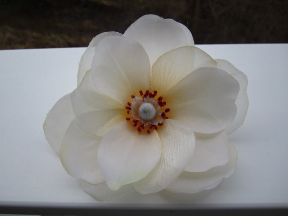 cream  MAGNOLIA  flower  HAIR  clip  OR  pin - sheer layers - Large