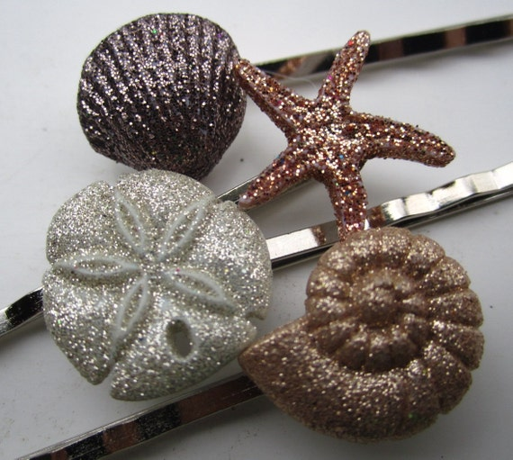 set of 4 ocean theme glitter bobby pins HAIR PIN STARFISH seashell sand dollar