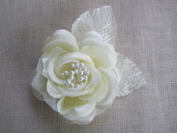 Ivory flower hair clip