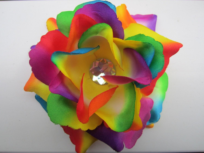 Rainbow Rose Flower Hair Clip Tye Dye