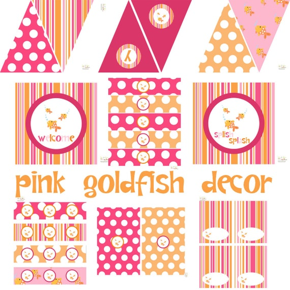 Girl Goldfish Birthday, Goldfish Baby Shower, Goldfish Birthday Decorations, Goldfish Baby Shower Decorations, Goldfish Party Decorations