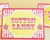 Carnival Circus Carousel Big Top Party- Table Labels  Buffet Labels - Yellow and Pink- Gwynn Wasson Printables