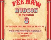 COWBOY Invitation  COWGIRL Invitation - Modern Rodeo Cowboy Collection - Gwynn Wasson Designs PRINTABLES