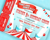 Circus Invitation Carnival Invitation Big Top  with Tickets - Aqua and Red Collection - Gwynn Wasson Designs PRINTABLES