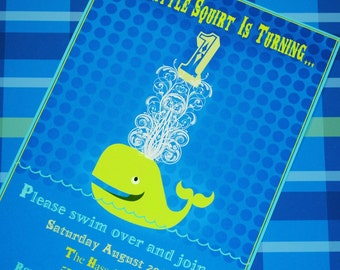 PRINTABLE Invitations - Little Squirt Whale Party