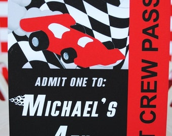 PRINTABLE Pit Pass - Black/Red Race Car Party