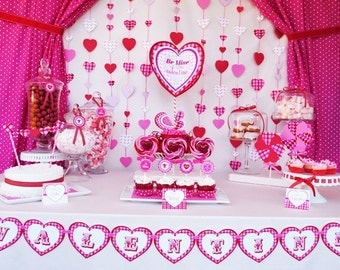 Valentine Collection INSTANT DOWNLOAD - Be Mine Collection - Party Circles, Banner, Bottle Wraps, Invitation, Favor Tags and Much More