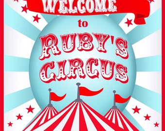 Circus Party Carnival Party Welcome Door Sign - Aqua and Red Collection -Gwynn Wasson Designs PRINTABLES