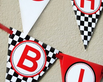 Race Car NAME Banner - Black and Red Party Collection - Gwynn Wasson Designs PRINTABLES