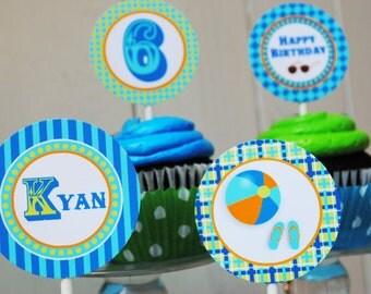 PRINTABLE Party Circles - Splish Splash Pool Party Collection - Aqua and Lime