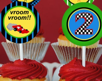PRINTABLE 2 Inch Party Circles - Race Car Collection - Brights