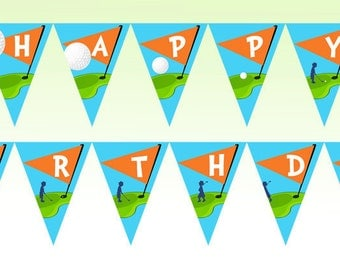 Golf Party Happy Birthday Banner - As Seen On Hostess With The Mostess - Gwynn Wasson Designs PRINTABLES