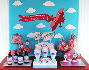 Valentine Party Fly Away With Me Airplane Collection - INSTANT DOWNLOAD - As Seen On HWTM
