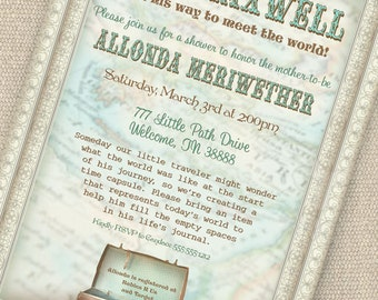 Little Traveler Baby Shower Invitation - Baby Meets World Collection - Gwynn Wasson Designs - PRINTABLES