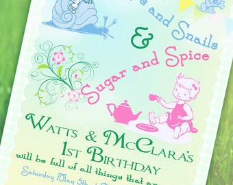 Twin Birthday Party Invitation  - Sugar and Spice Collection - Gwynn Wasson Designs - PRINTABLES