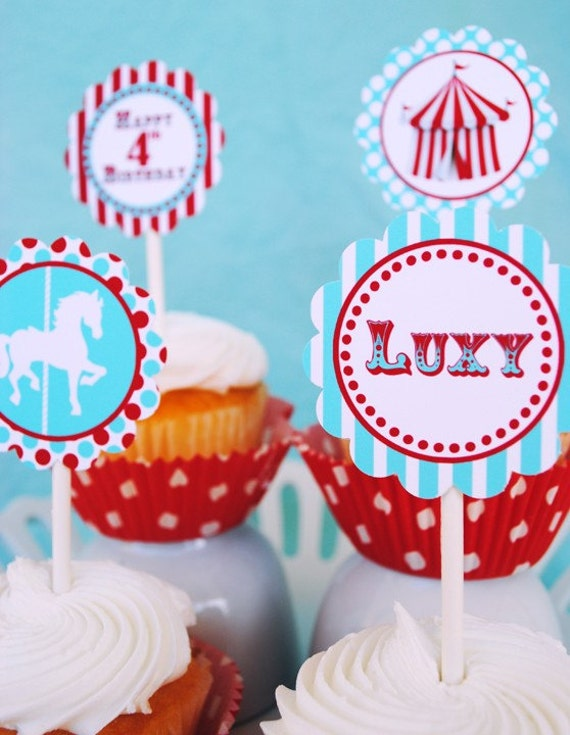 Carnival Circus Cupcake Toppers Party Circles and More - As Seen On AMY ATLAS - Aqua and Red Collection - Gwynn Wasson Designs PRINTABLES