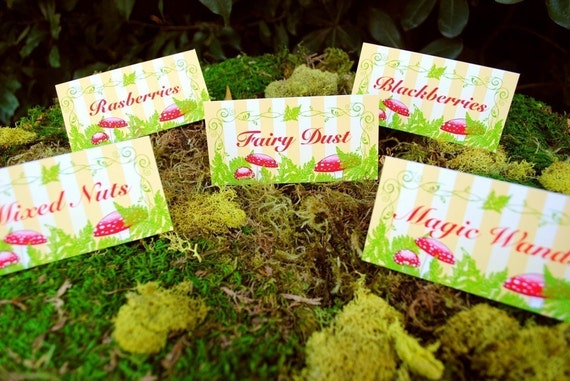 PRINTABLE Table Labels - Woodland Fairy Party