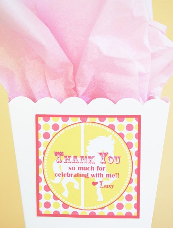 PRINTABLE Favor Tag - Carnival/Circus Party Yellow and Pink