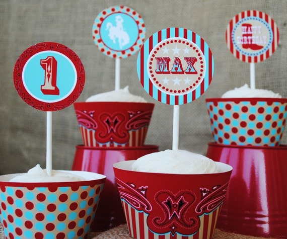 """COWBOY Party - 2"""" Party Circles Cupcake Toppers- Modern Rodeo Cowboy Collection - Gwynn Wasson Designs Printables"""