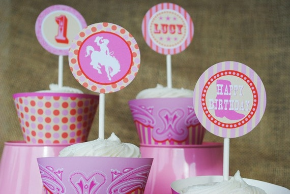 Cowgirl Party Circles Cupcake Toppers and More - Modern Rodeo Cowgirl Collection - Gwynn Wasson Designs PRINTABLES