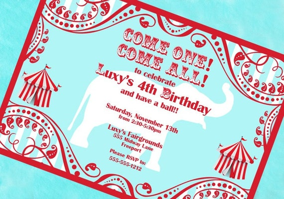 Circus Invitation Carnival Big Top Carousel Invitation - As Seen On AMY ATLAS - Aqua and Red Collection - Gwynn Wasson Designs PRINTABLES