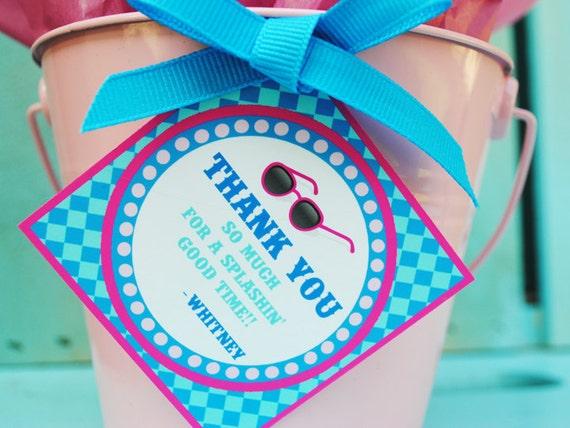 PRINTABLE Favor Tag - Splish Splash Pool Party Collection - Pink and Aqua