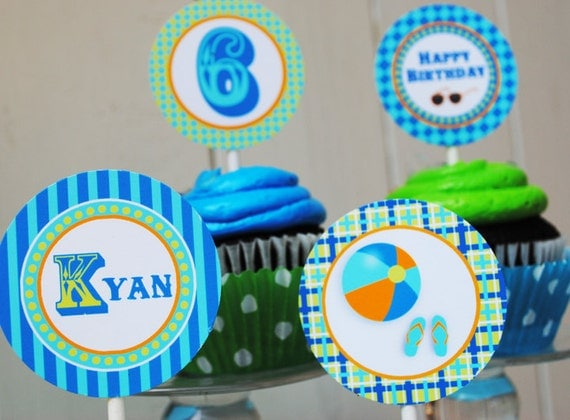 PRINTABLE Party Circles - Splish Splash Pool Party Collection - Aqua and Lime