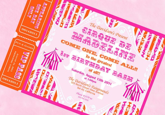 Carnival Invitation Circus Invitation Carousel Invitation with Tickets  -  Orange and Pink Collection - Gwynn Wasson Designs PRINTABLES