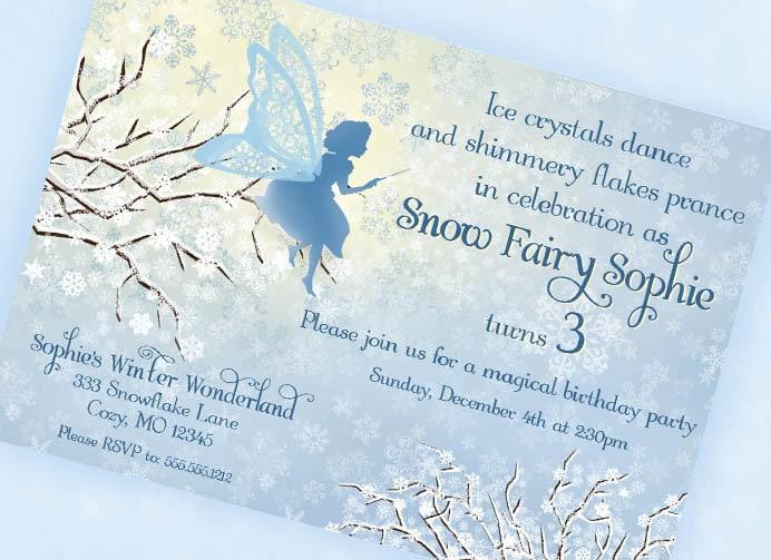 Snow Fairy Invitation Winter Wonderland by GwynnWassonDesigns