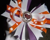 Clemson Tigers woven headband and boutique bow with flattened bottlecap center