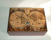 Wood Keepsake Box  17th Century  Vintage World Map Print Handmade in Chattanooga